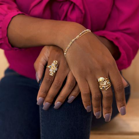 Image of 14 Karat Gold Plated Polki Diamond and Labradorite Multi-row Stacked Ring - Cece & Me - Home and Gifts