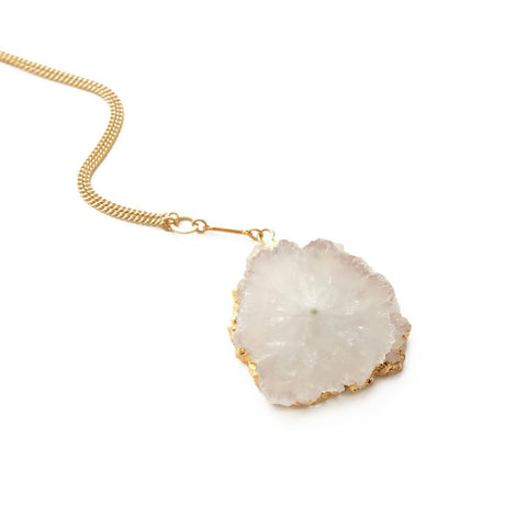 Golden Drusy Necklace in White - Cece & Me - Home and Gifts