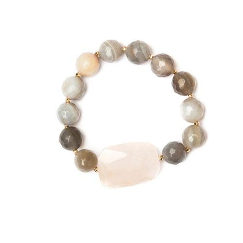 Gray beads & Rose Quartz Bracelet - Cece & Me - Home and Gifts