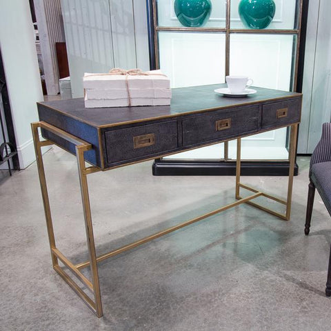 Grey Leather Shagreen Desk - Cece & Me - Home and Gifts