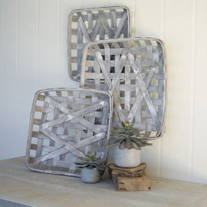 Grey Wash Square Woven Split Wood Baskets (Set of 3) - Cece & Me - Home and Gifts