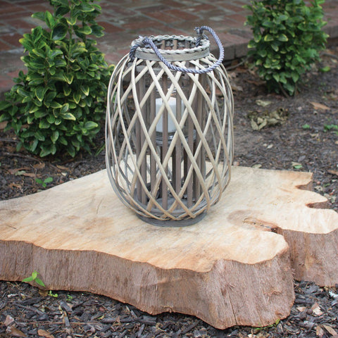 Grey Willow Lantern With Glass ~ Small - Cece & Me - Home and Gifts
