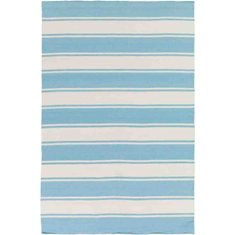 Image of Habersham Striped Rug ~ Aqua & White - Cece & Me - Home and Gifts