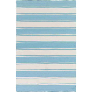 Habersham Striped Rug ~ Aqua & White - Cece & Me - Home and Gifts