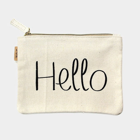 Hello Canvas Eco Pouch Bag - Cece & Me - Home and Gifts
