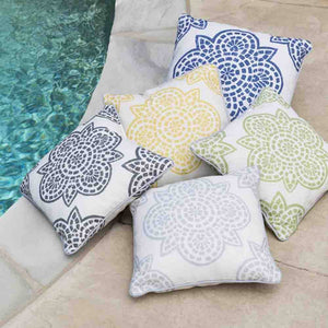 Hemma Outdoor Pillow ~ White & Blue - Cece & Me - Home and Gifts