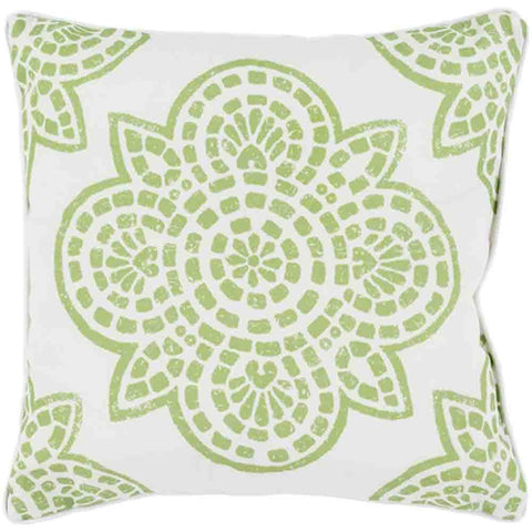 Image of Hemma Outdoor Pillow ~ Green & White - Cece & Me - Home and Gifts