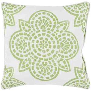 Hemma Outdoor Pillow ~ Green & White - Cece & Me - Home and Gifts