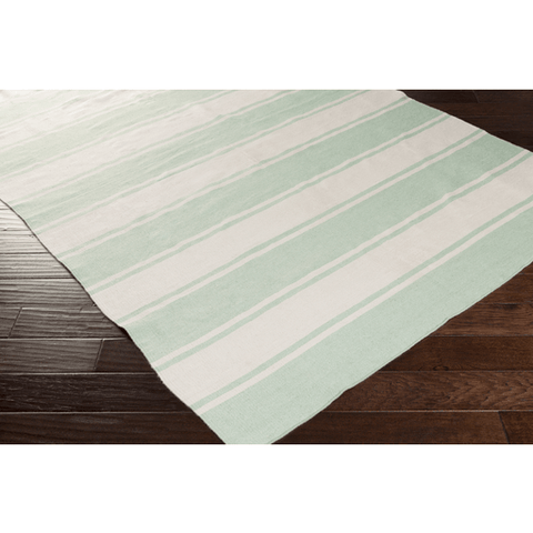 Image of Habersham Striped Rug ~ Sea Foam & Beige - Cece & Me - Home and Gifts