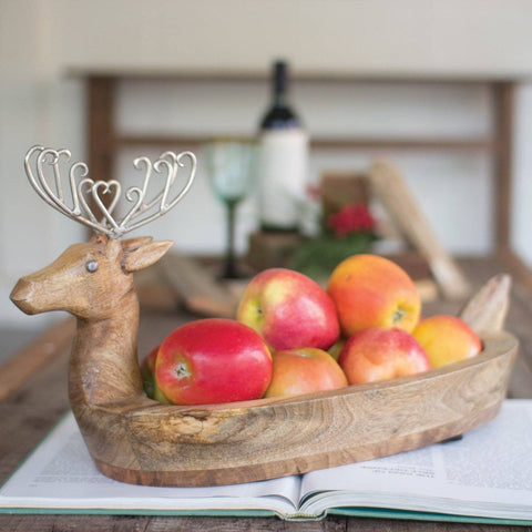Hand Carved Mango Wood Reindeer Bowl With Metal Antlers - Cece & Me - Home and Gifts