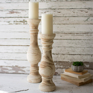 Hand Carved Wooden Candle Stands (Set of 2) - Cece & Me - Home and Gifts