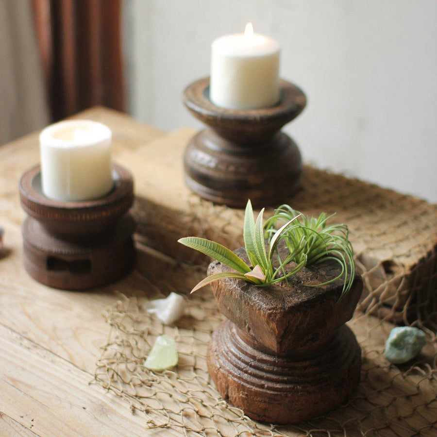 Hand Carved Wooden Seed Spreader Candle Holders (Set of 3)