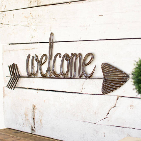 Image of Hand Hammered Welcome Sign with Arrow - Cece & Me - Home and Gifts