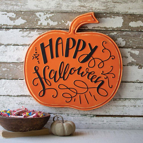 Happy Halloween Metal Pumpkin - Cece & Me - Home and Gifts