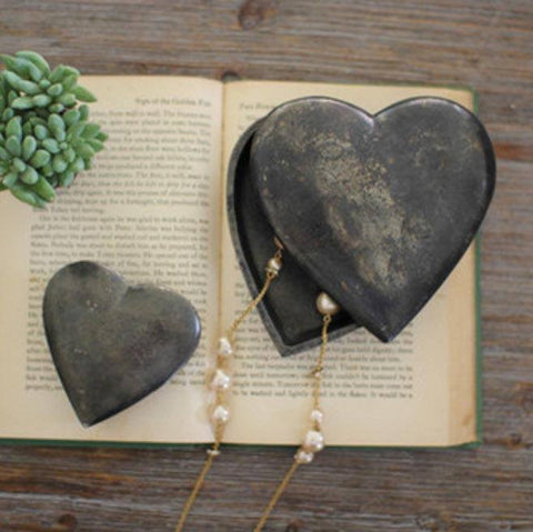 Cast Aluminum Heart Boxes (Set of 2) ~ Antique Black - Cece & Me - Home and Gifts