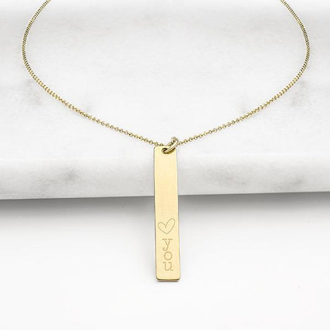 "Image of ""Heart you"" Vertical Bar Necklace ~ Gold - Cece & Me - Home and Gifts"