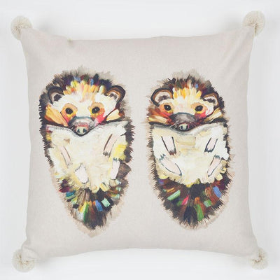 Hedgehog Duo On Soft Gray Pillow - Cece & Me - Home and Gifts