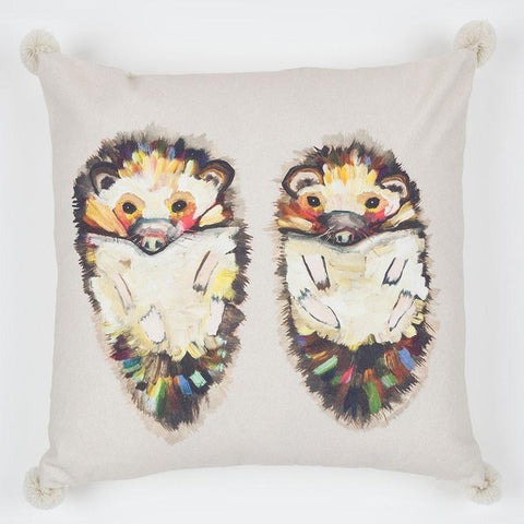 Image of Hedgehog Duo On Soft Gray Pillow - Cece & Me - Home and Gifts