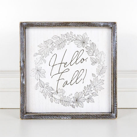 Hello Fall Wood-Framed Sign - Cece & Me - Home and Gifts