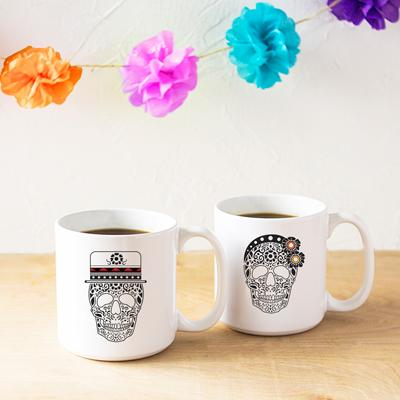 His + Hers Sugar Skull Large 20 oz. Coffee Mug (Set of 2) - Cece & Me - Home and Gifts