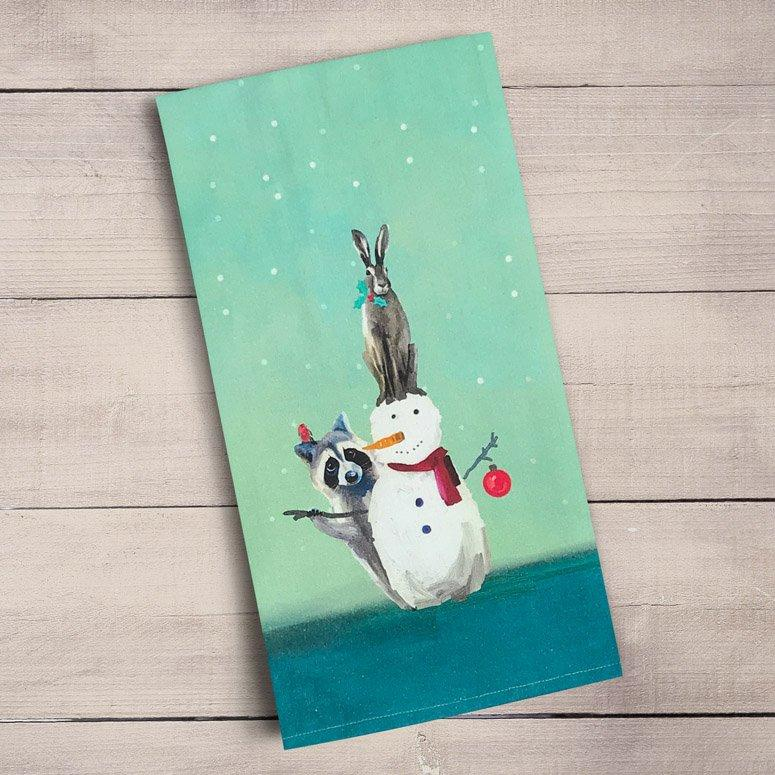 Snowman, Raccoon And Rabbit Tea Towels ~ Holiday Collection - Cece & Me - Home and Gifts