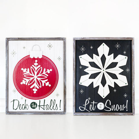Holiday Reversible Wood-framed Sign ~ Snow - Cece & Me - Home and Gifts