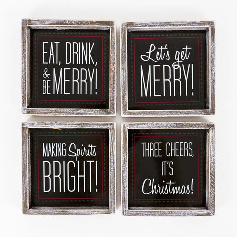 Holiday Wood Framed Coaster Magnetic (Set of 4) - Cece & Me - Home and Gifts