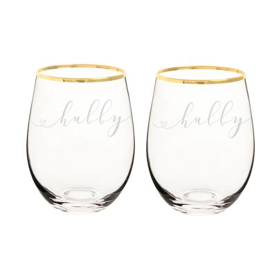 Image of Hubby & Hubby 19.25 oz. Gold Rim Stemless Wine Glasses - Cece & Me - Home and Gifts