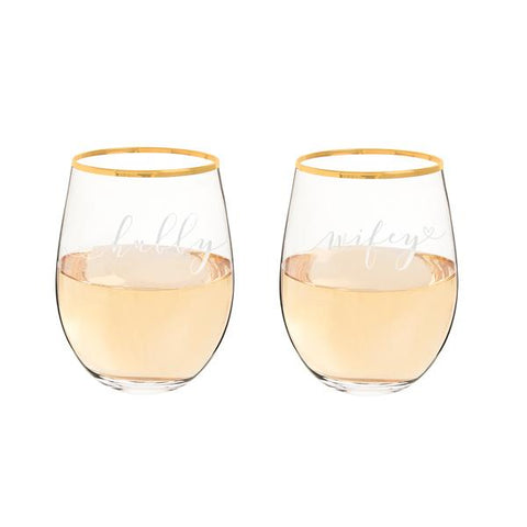 Hubby & Wifey 19.25 oz. Gold Rim Stemless Wine Glasses - Cece & Me - Home and Gifts