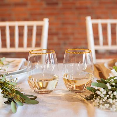 Image of Hubby & Wifey 19.25 oz. Gold Rim Stemless Wine Glasses - Cece & Me - Home and Gifts