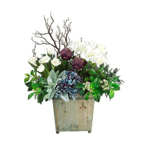 Hydrangea/ Artichoke/Tulip in Wood Container White Eggplant - Cece & Me - Home and Gifts