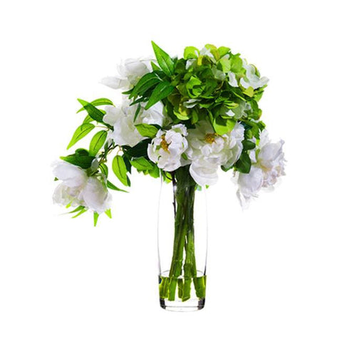 Hydrangea/Peony in Glass Vase Green White - Cece & Me - Home and Gifts