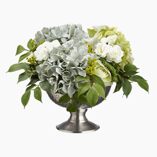 Hydrangea/Ranunculus/Sedum in Aluminum Bowl Blue Green - Cece & Me - Home and Gifts