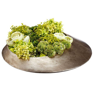 Hydrangea /Ranunculus/Sedum in Metal Vase Green Lime - Cece & Me - Home and Gifts