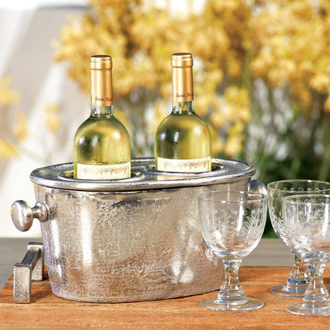 Raw Aluminum Two Bottle Wine Holder - Cece & Me - Home and Gifts