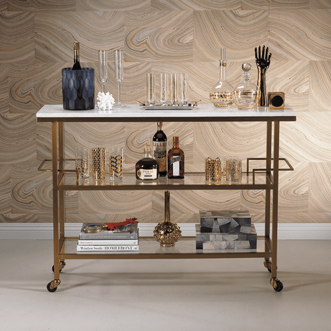 Image of Porto Servo Metal Bar with Makrana Albeta Marble Top - Cece & Me - Home and Gifts