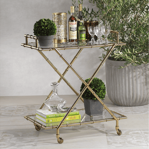 Malay Metal Bamboo Bar Cart - Cece & Me - Home and Gifts