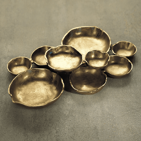 Cluster of Nine Round Serving Bowls - Dark Gold - Cece & Me - Home and Gifts