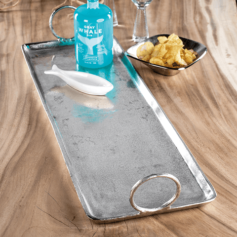 Cost Brava Raw Aluminum Tray / Nickel - Cece & Me - Home and Gifts