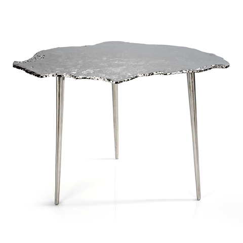 Exotic Aluminum Wood Slice Design Table - Nickel - Large - Cece & Me - Home and Gifts