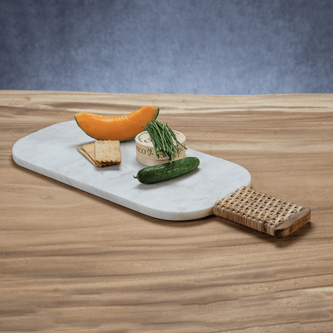 Marble Cheese and Charcuterie Board with Woven Cane Handle - Cece & Me - Home and Gifts