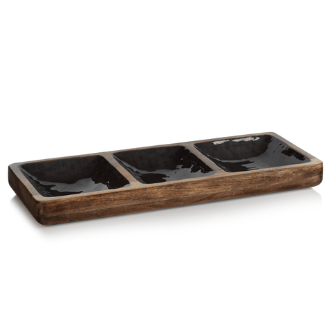 Desert Oasis Mango Wood Sectional Condiment Set - Sedona Gray - Cece & Me - Home and Gifts