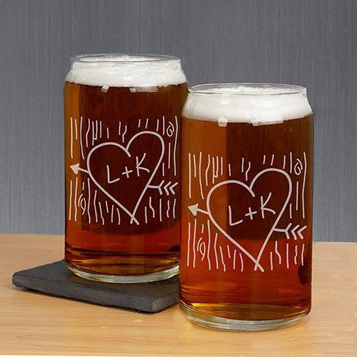 Couples Initial Carved Beer Can Glass (Set of 2) - Cece & Me - Home and Gifts