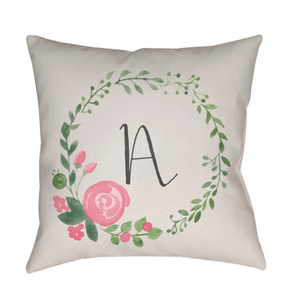 Initials + Flowers Indoor/Outdoor Pillow - Cece & Me - Home and Gifts