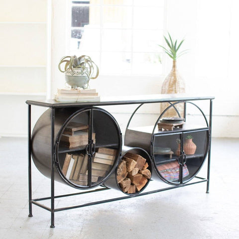 Iron And Glass Circles Console - Cece & Me - Home and Gifts