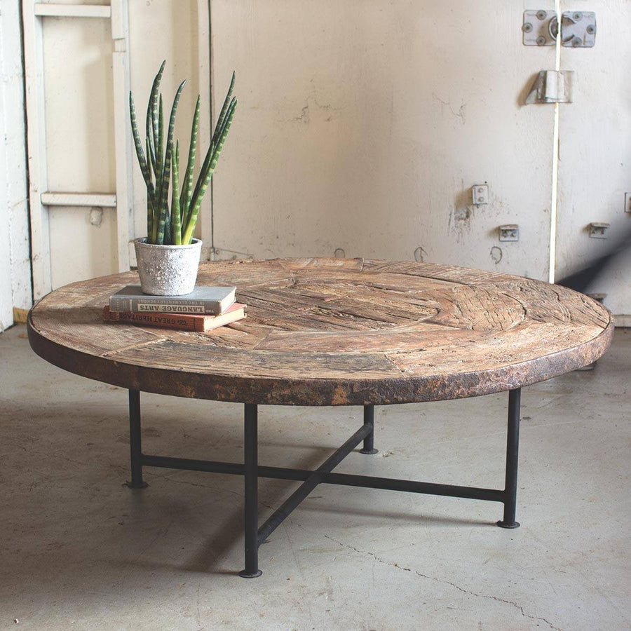 Iron Base Coffee Table with Antique Reclaimed Wooden Wagon Wheel