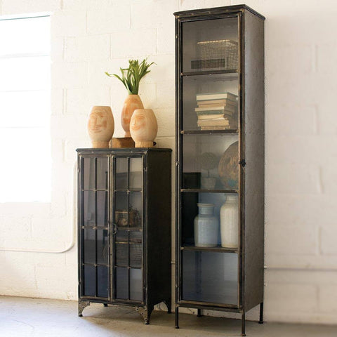 Image of Tall Iron and Glass Apothecary Cabinet - Cece & Me - Home and Gifts