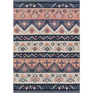 Jewel Tone Rug ~ Navy/Rose