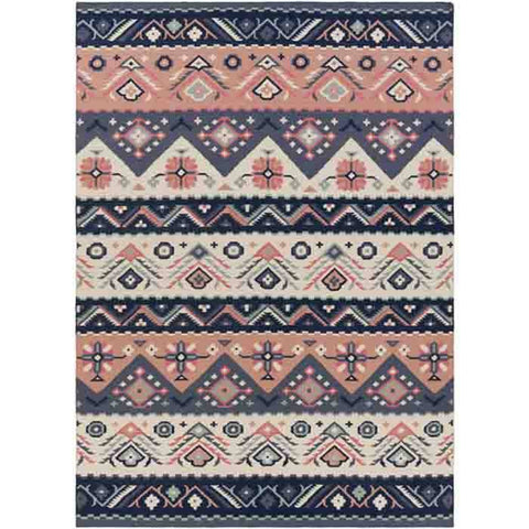 Image of Jewel Tone Rug ~ Navy/Rose - Cece & Me - Home and Gifts