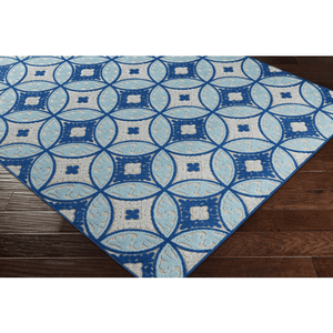 Joblin Rug ~ Aqua/Dark Blue/Light Gray/Cream